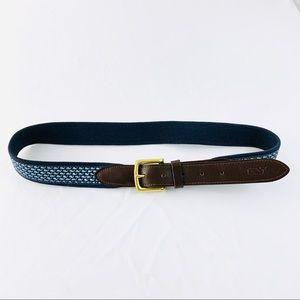 VINEYARD VINES Men's Classic Leather & Canvas Belt